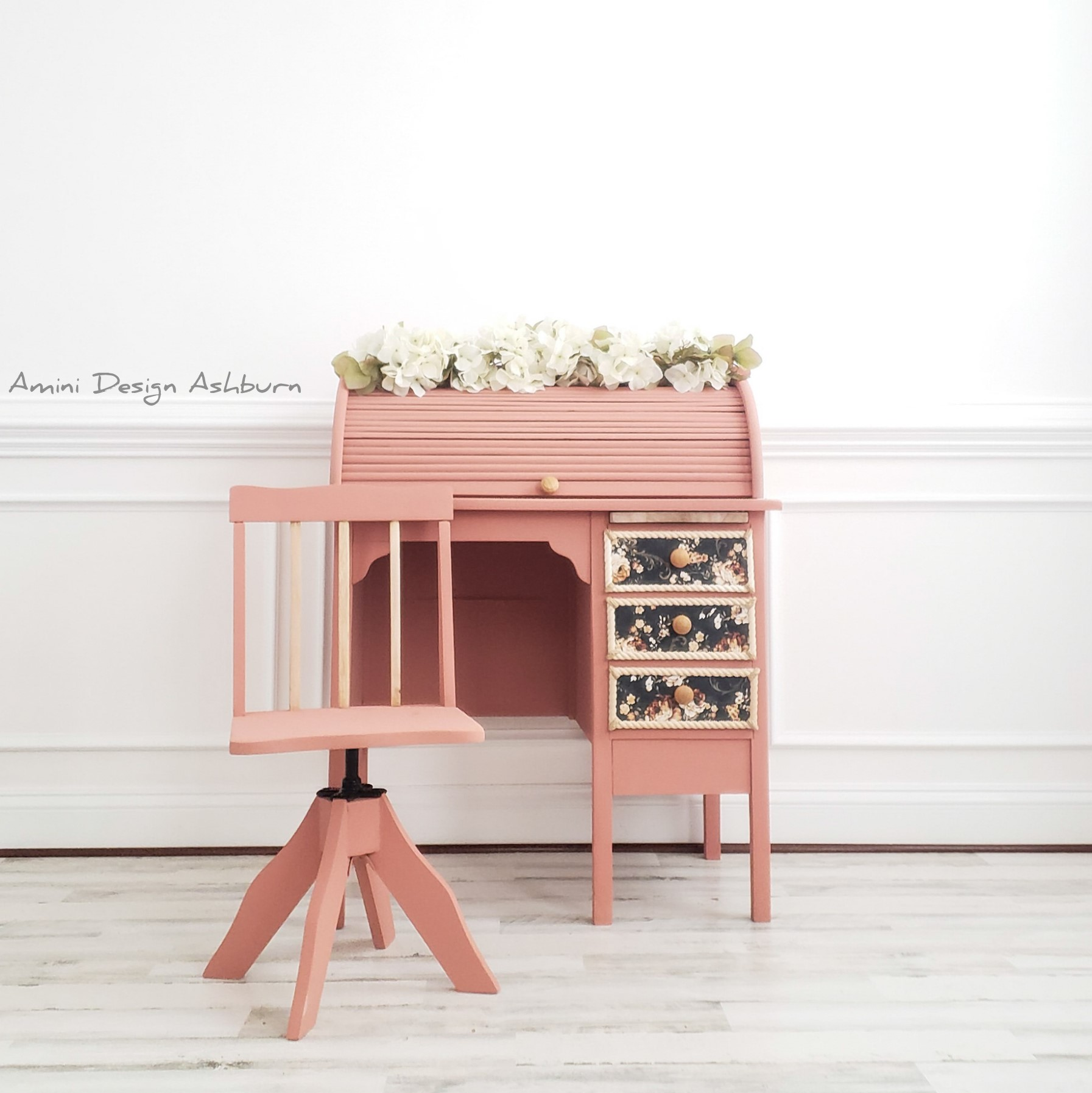 Petite Roll-Top Desk with Library Chair in Peachy Keen