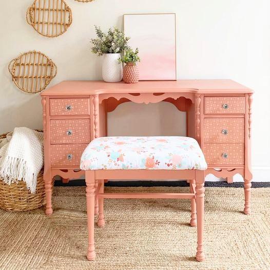 Desk/Vanity in Peachy Keen with Floral Stool