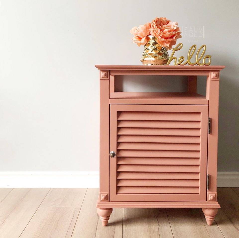 Accent Table in Peachy Keen with Gold Accents