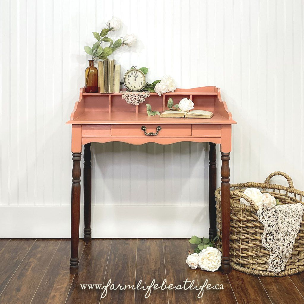Petite Desk in Peachy Keen with Dark Wood Legs