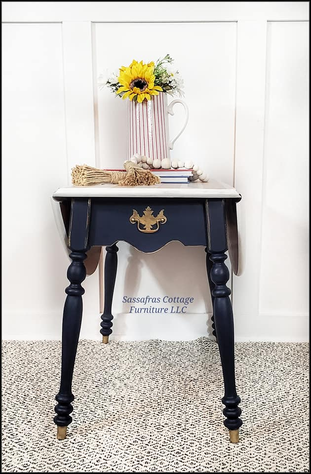 Drop-Leaf Accent Table in Peacoat with Simplicity Top