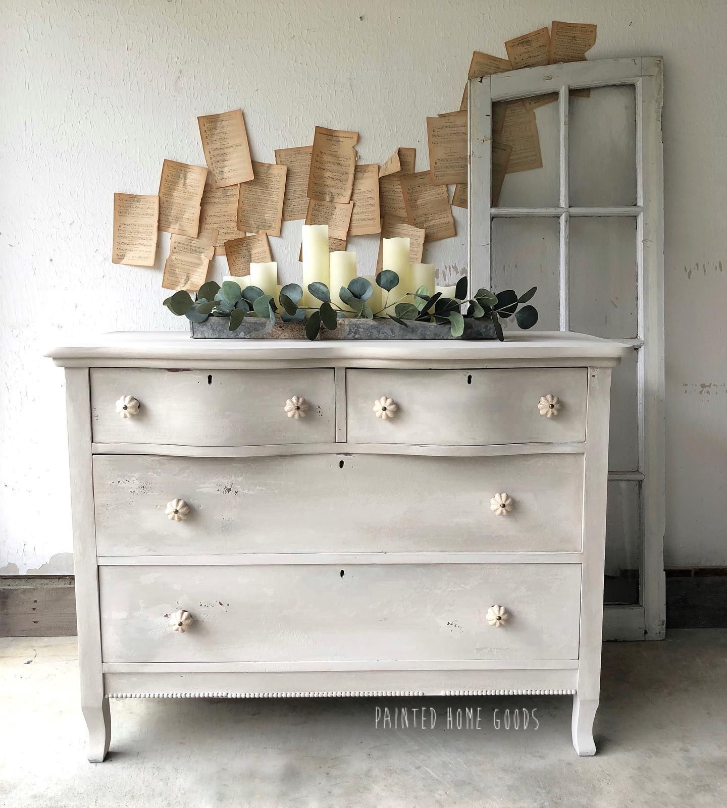 Dresser with Bow-Front Drawers in a mix of Pop The Bubbly/Soiree/Driftwood