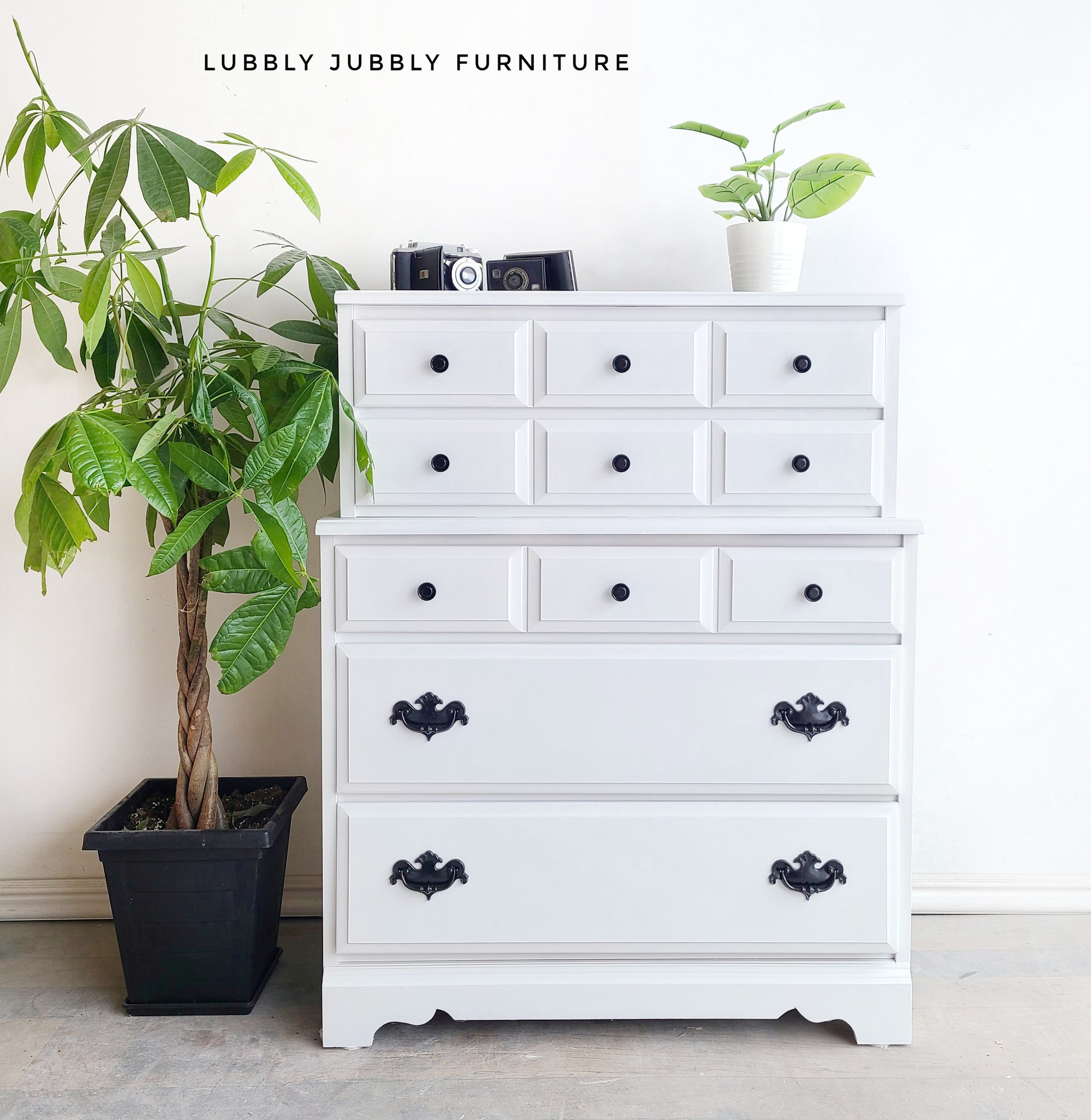 Tall Dresser in Simplicity with Clear Coat and Black Hardware