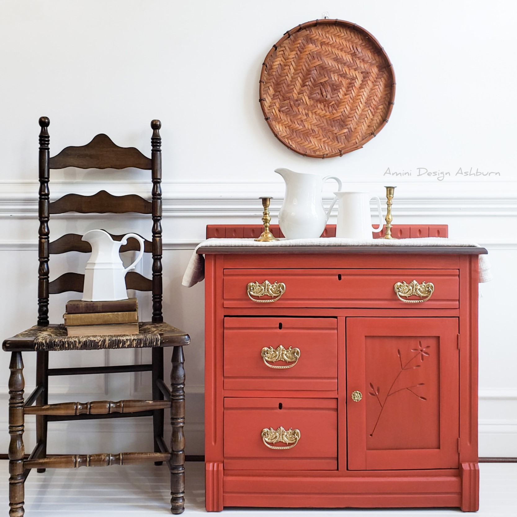Farmhouse Storage Cabinet in Sparklers with Black Wax