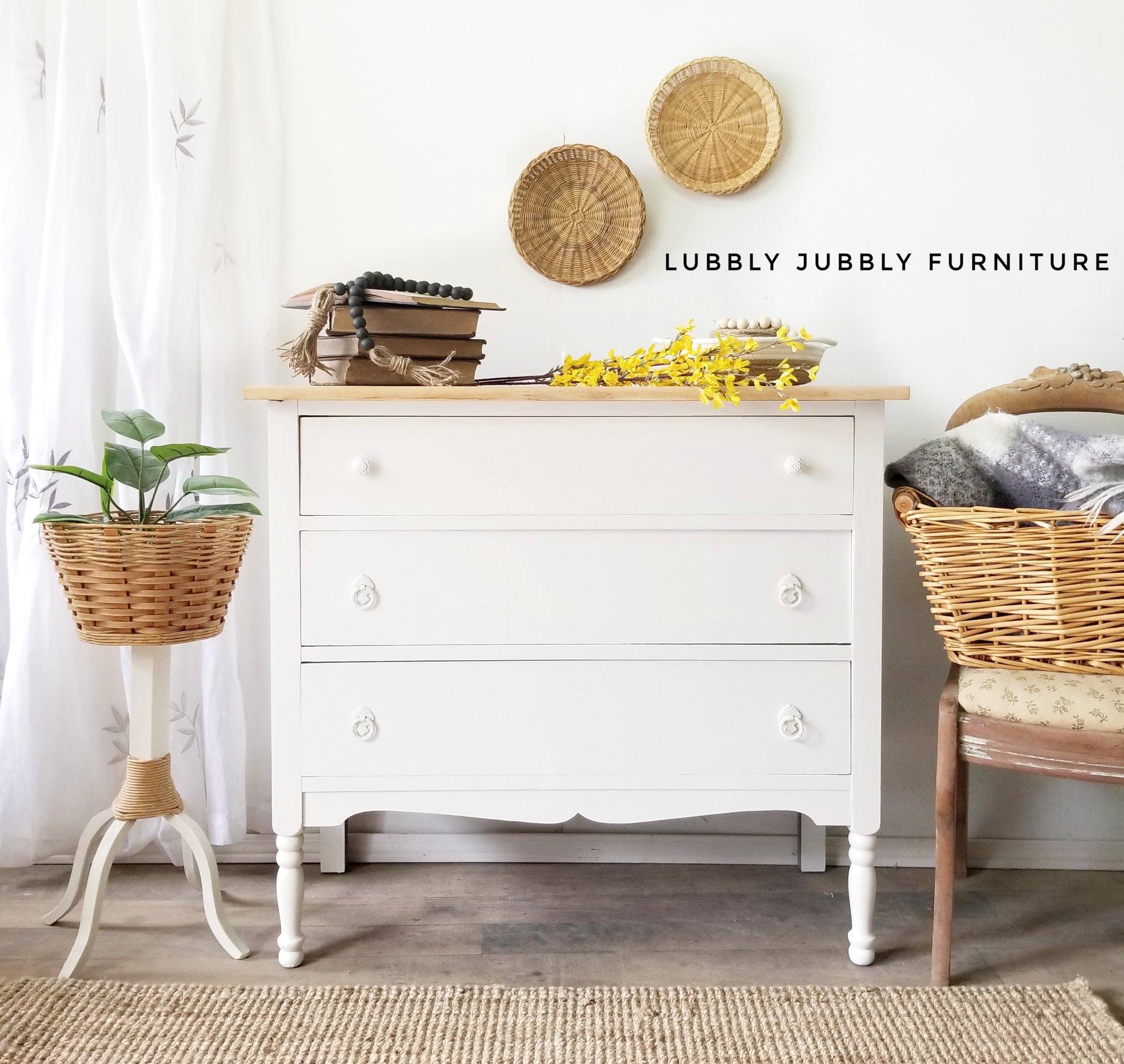 Three Drawer Farmhouse Dresser in Vanilla Frosting