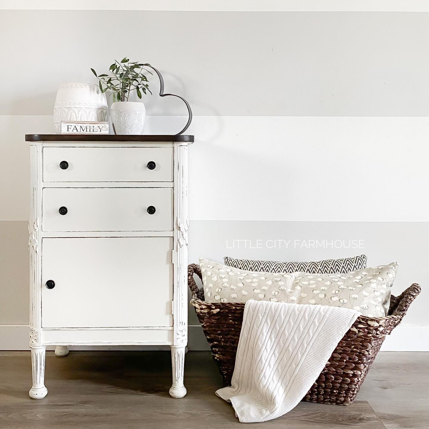 Accent/Storage Table in Vanilla Frosting
