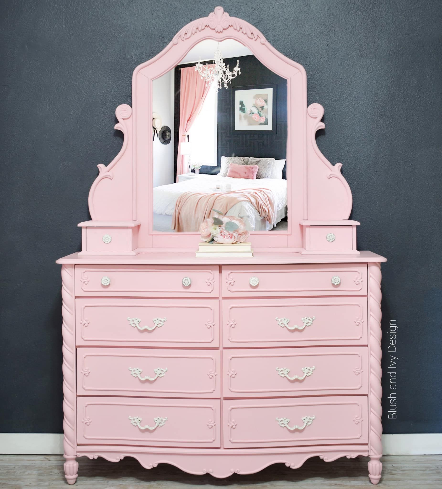 Ornate Dresser with Mirror in Vintage Cupcake