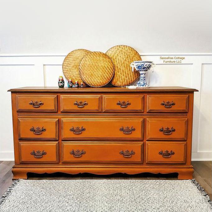 Nine Drawer Dresser in With a Twist with Black Wax