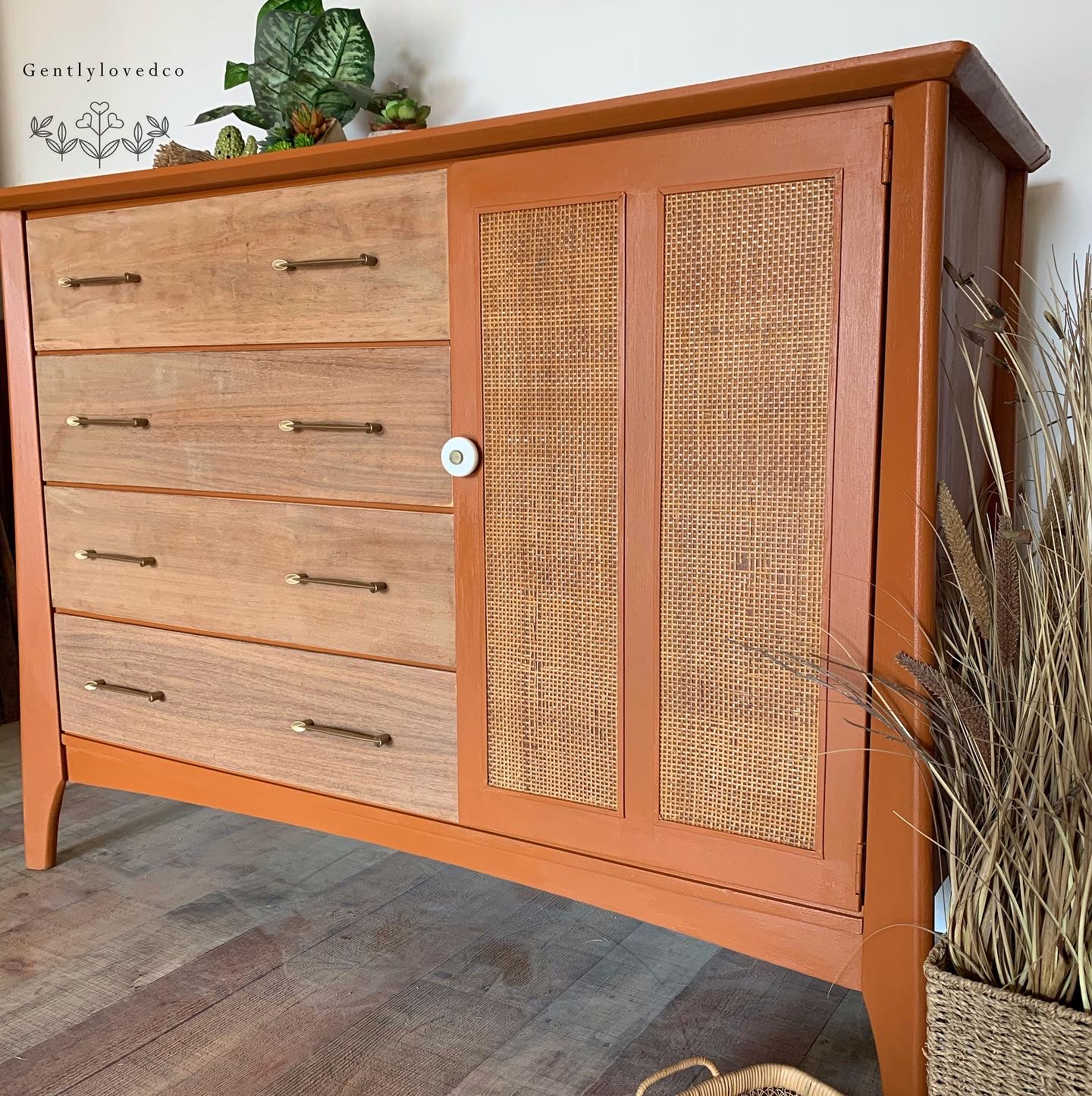 Farmhouse Dresser in With A Twist and Stained Wood Top and Drawers