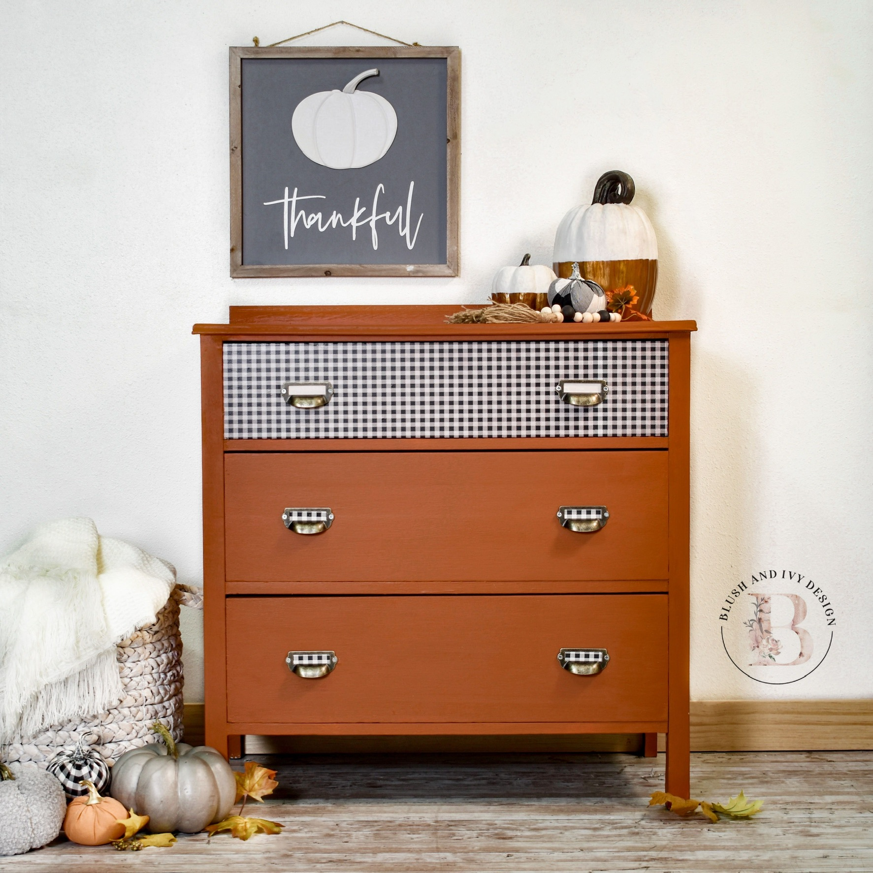 Three-Drawer Cabinet with Gingham Drawer in With A Twist