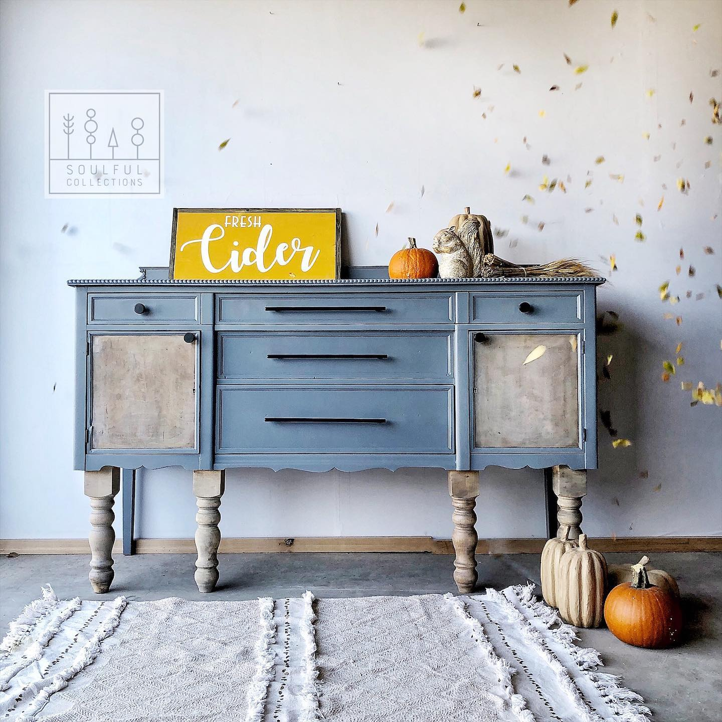 Large Buffet/Cabinet in Dune Grass with Driftwood Legs
