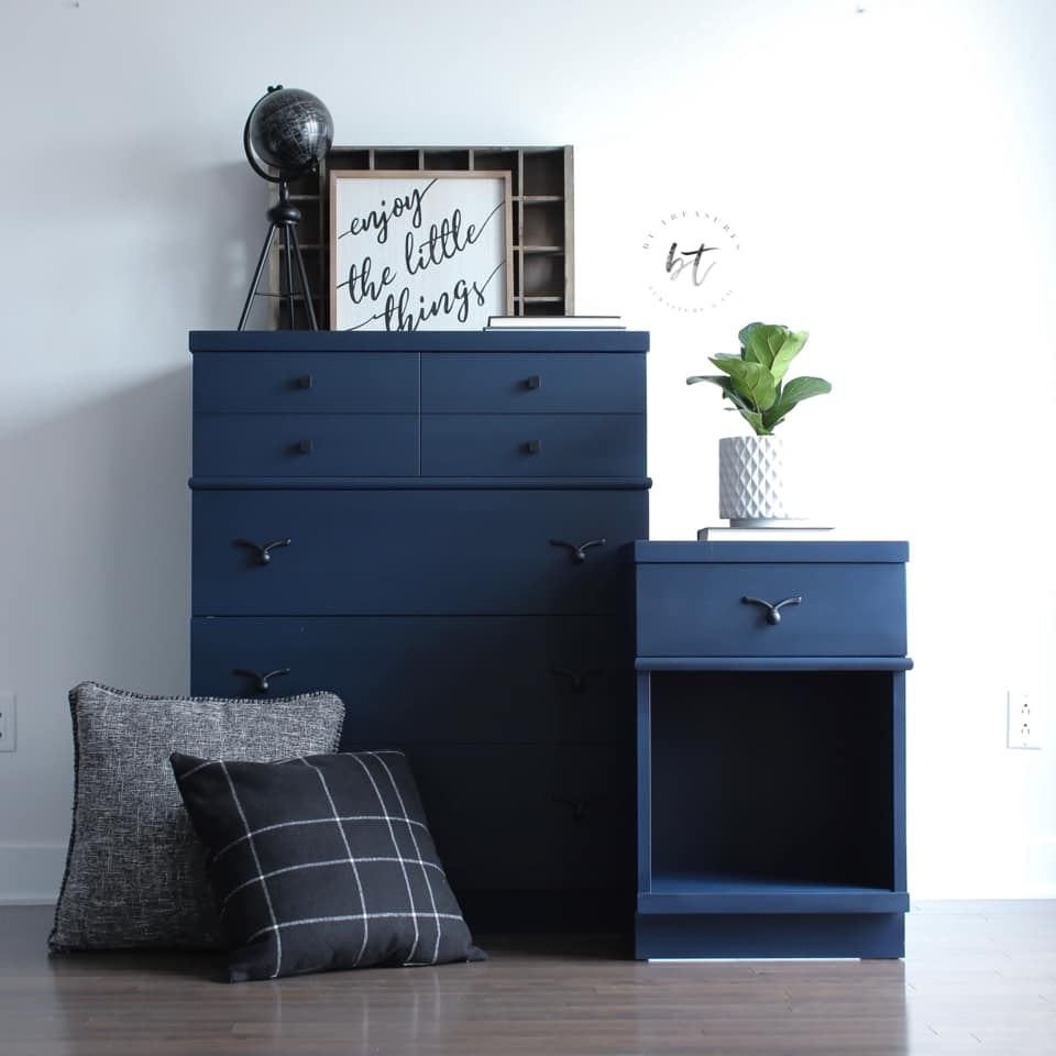 Tall Dresser and Accent Table set in Peacoat with Black Wax