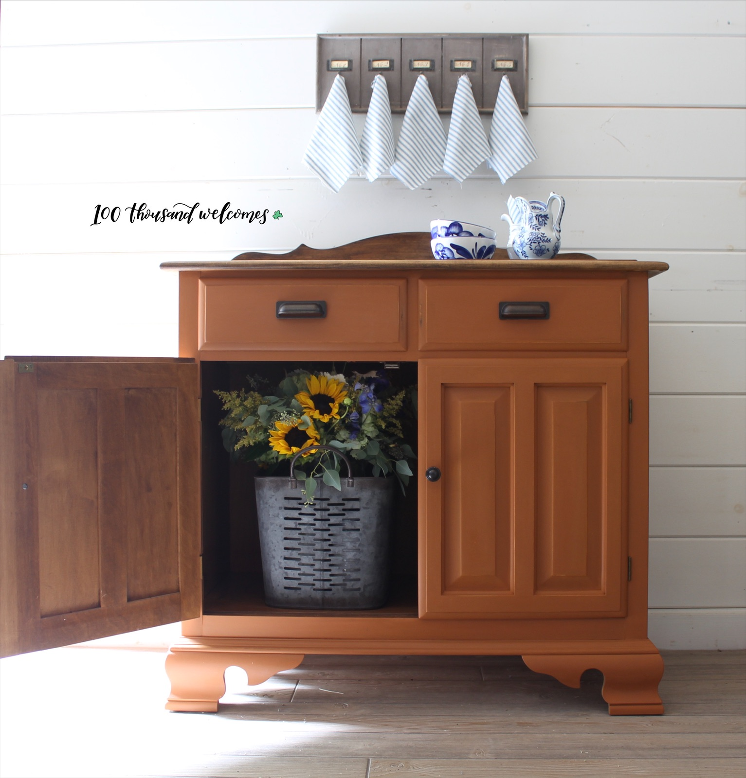 Farmhouse Storage Cabinet in With a Twist with Dark Wood Top