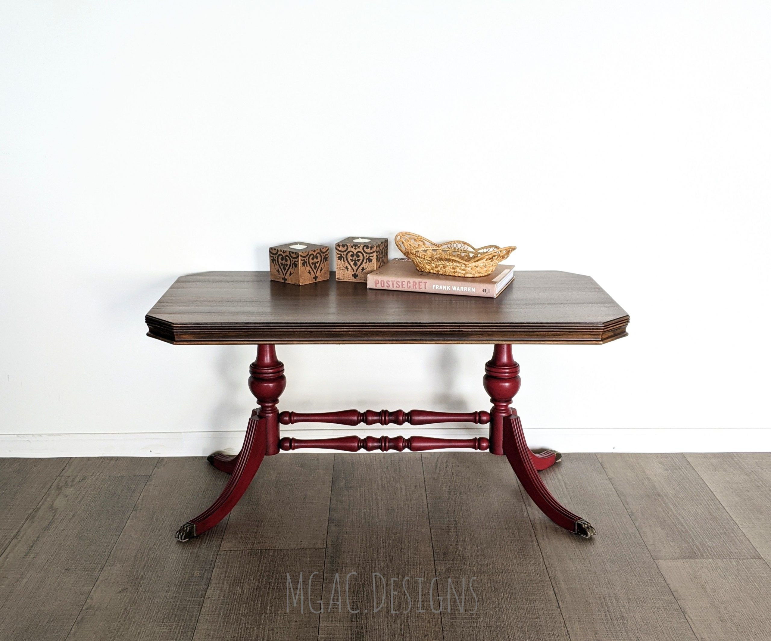 Accent/Coffee Table in Cranberry Sauce with Black Glaze