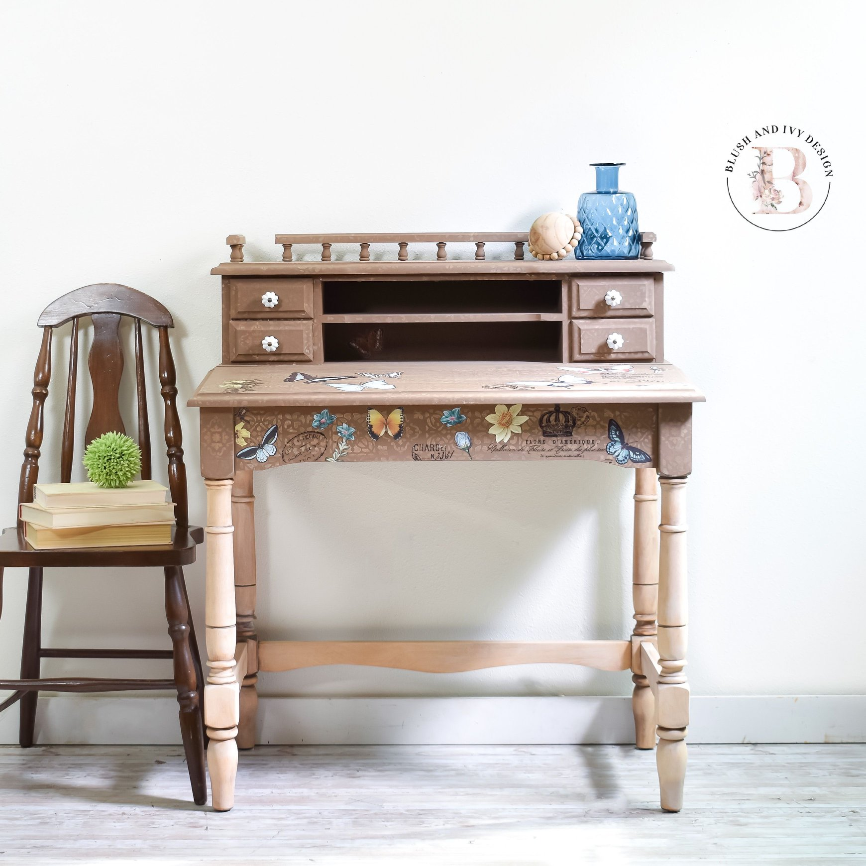Childrens Desk and Chair in Canape with Floral Stencil and Natural Wood Legs
