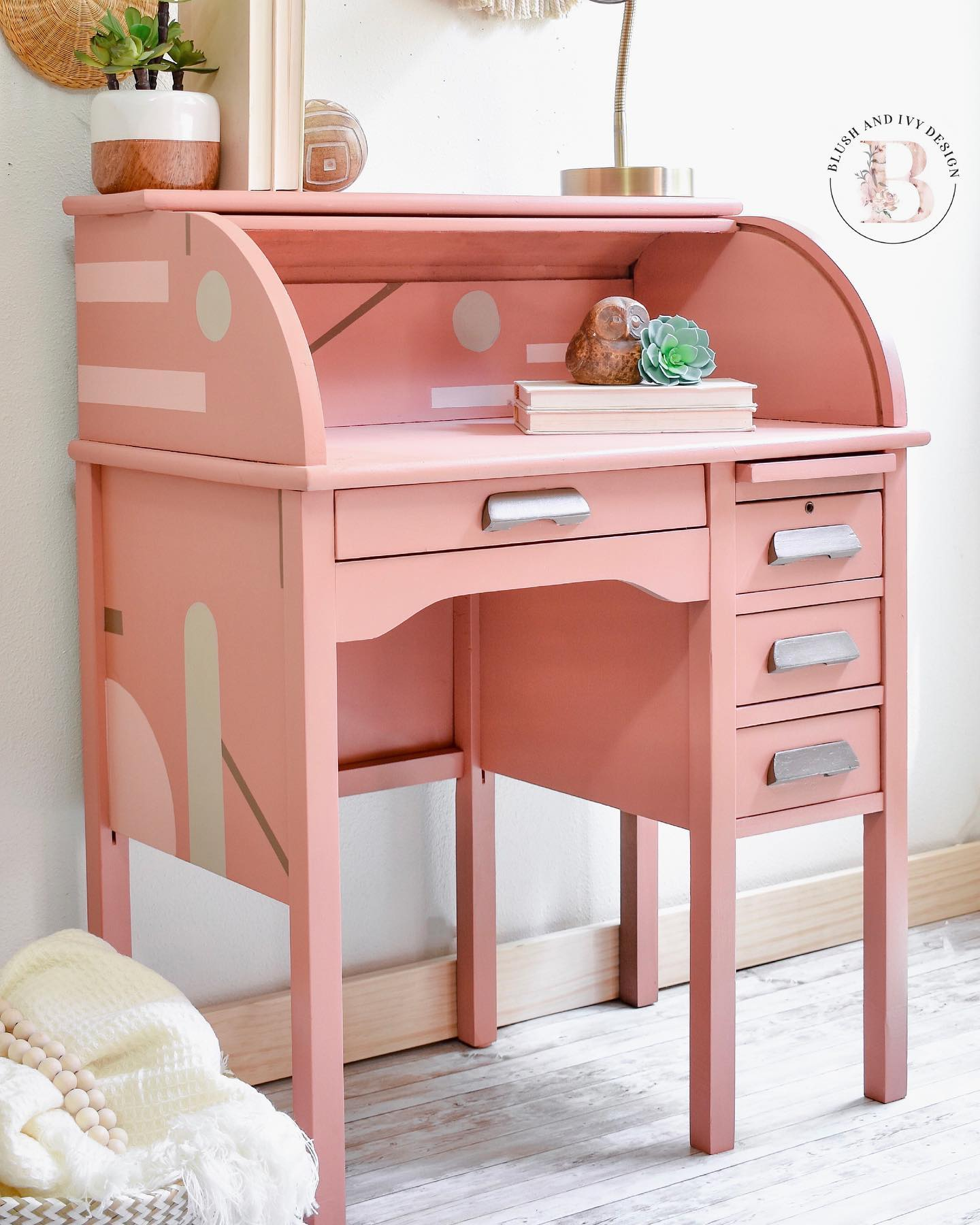 Vintage Roll Top Desk in Peachy Keen with Geometric Designs