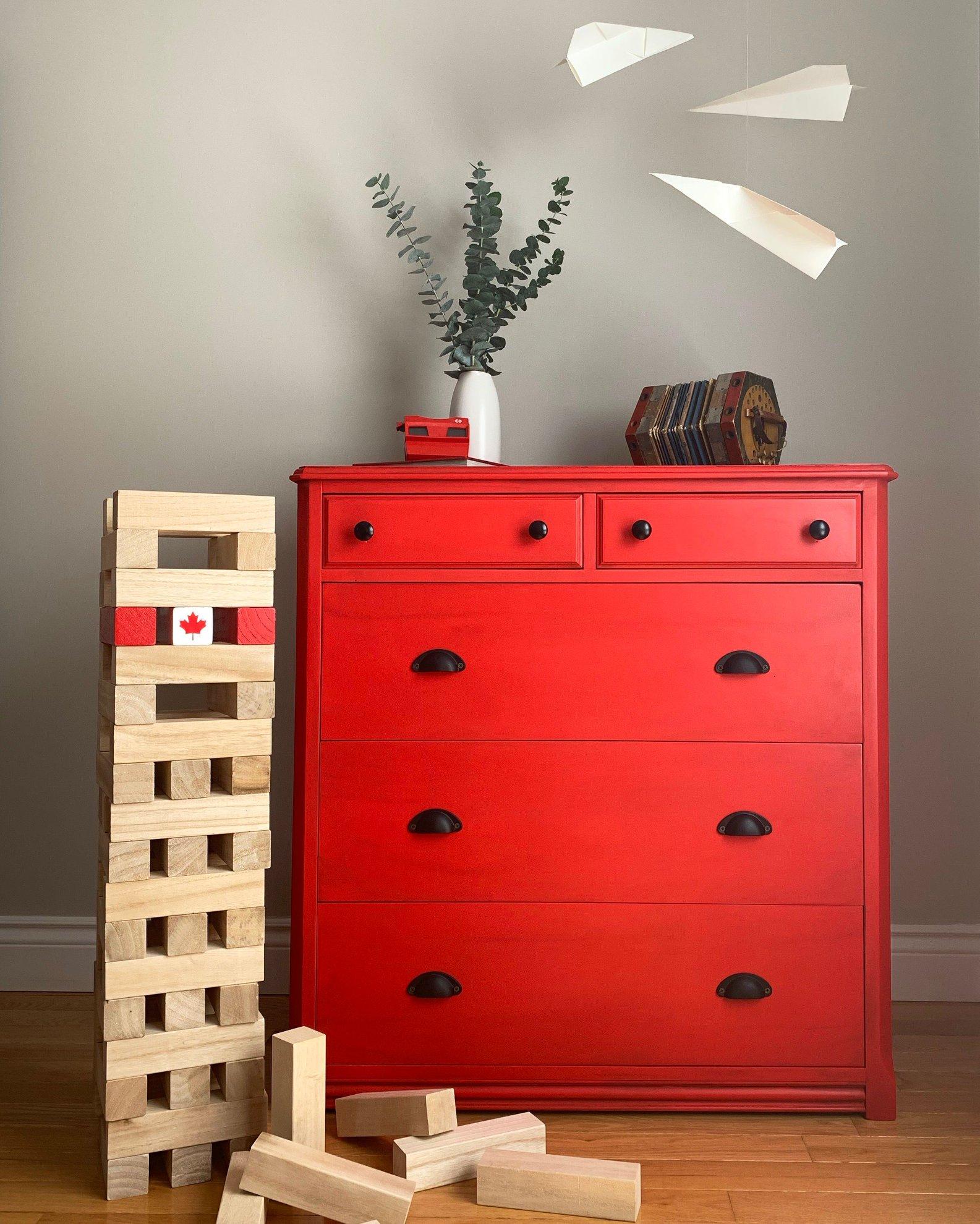 Boxy Farmhouse Dresser in Devotion with Glaze and Black Hardware