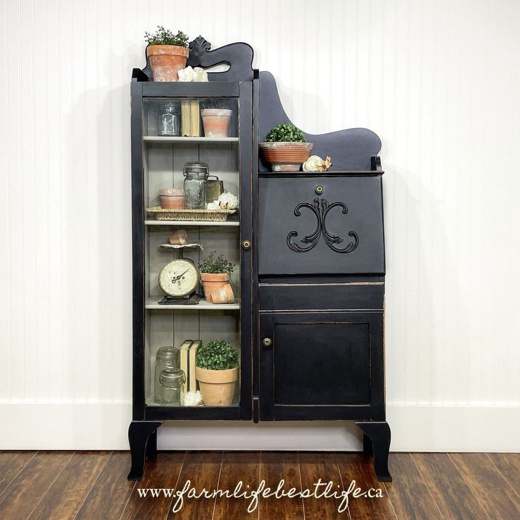 Vintage Storage Cabinet with Glass Door in Liquorice