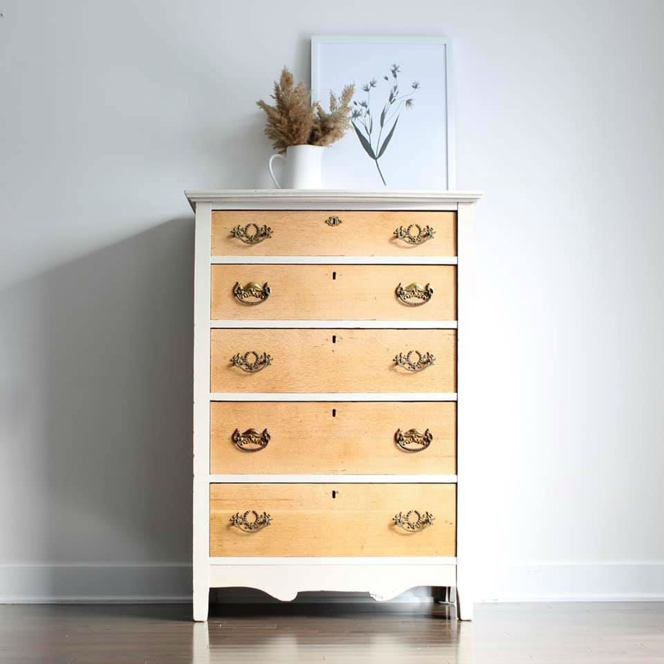 Tall Dresser in Pop The Bubbly and Natural Wood
