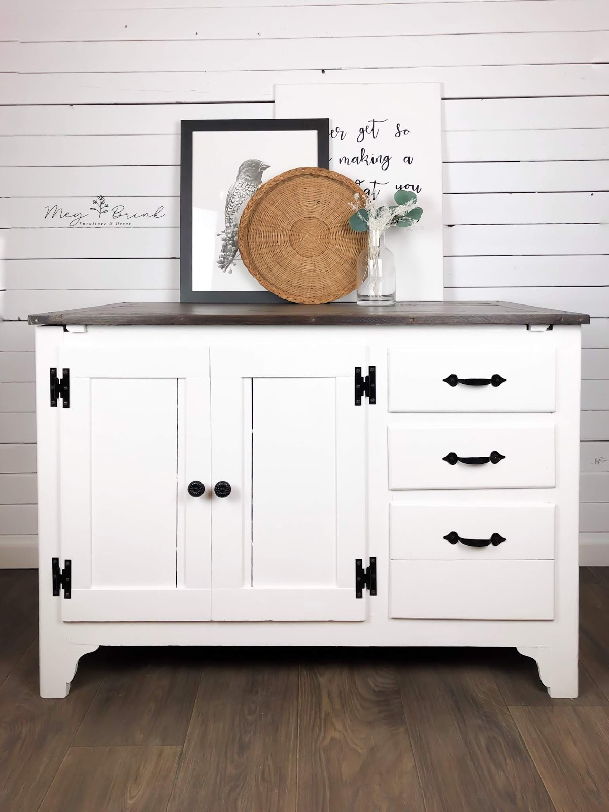 Farmhouse Cabinet in Simplicity with Black Hardware