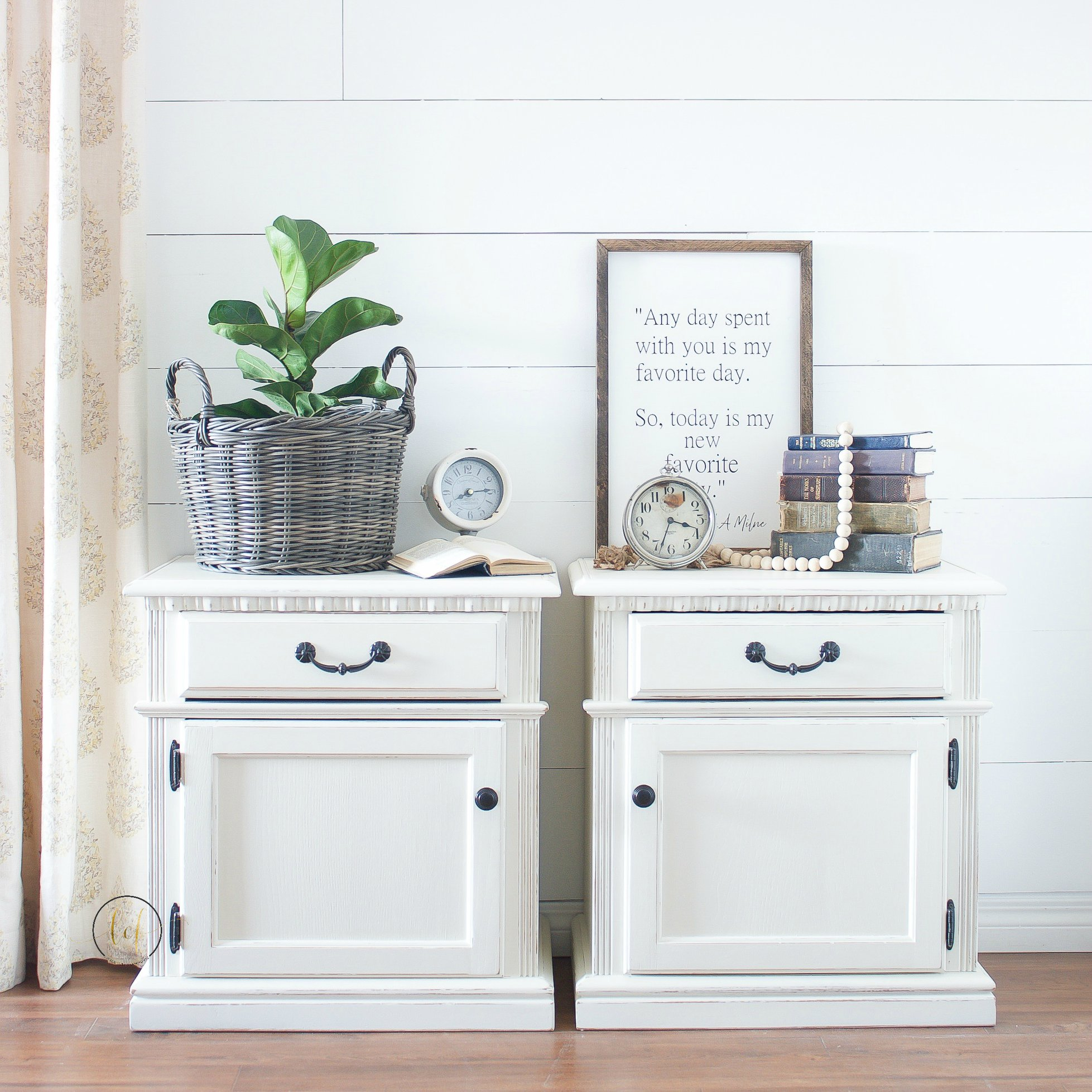 Storage/Accent Tables in Vanilla Frosting with Black Hardware