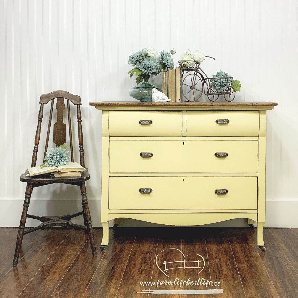 Empire Three Drawer Dresser in Luminous with Natural Wood Top and Casters