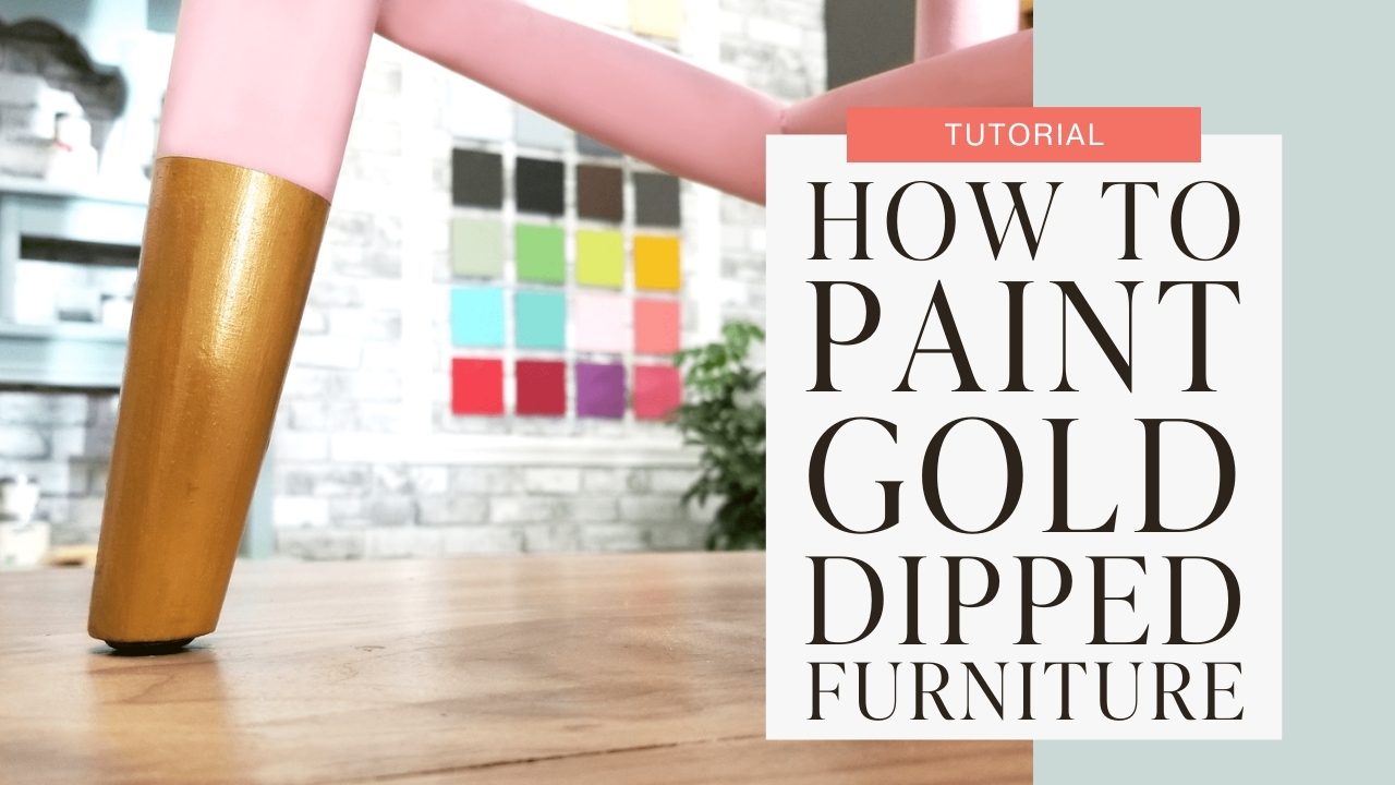 How to paint gold dipped furniture tutorial graphic
