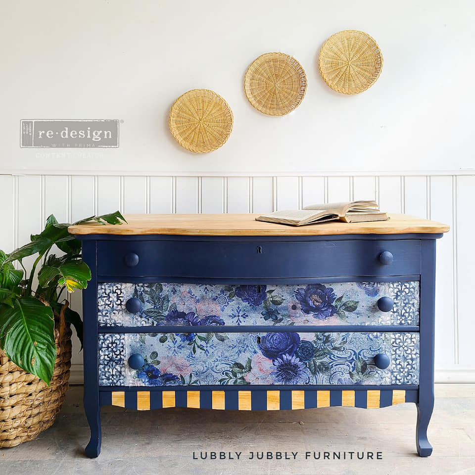 three drawer dresser in peacoat with stencil and natural wood top wicker wall art
