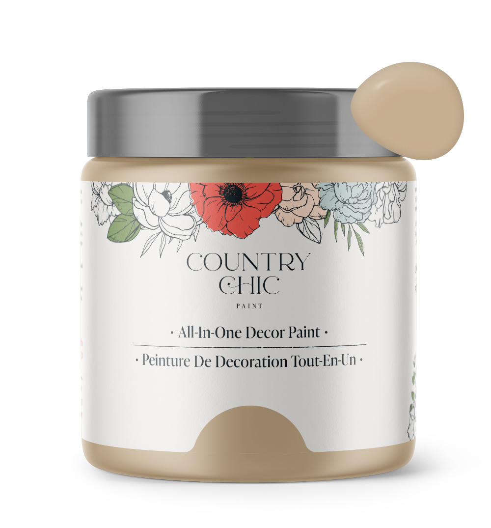 16oz jar of Country Chic Chalk Style All-In-One Paint in the color Road Trip. Sandy brown.