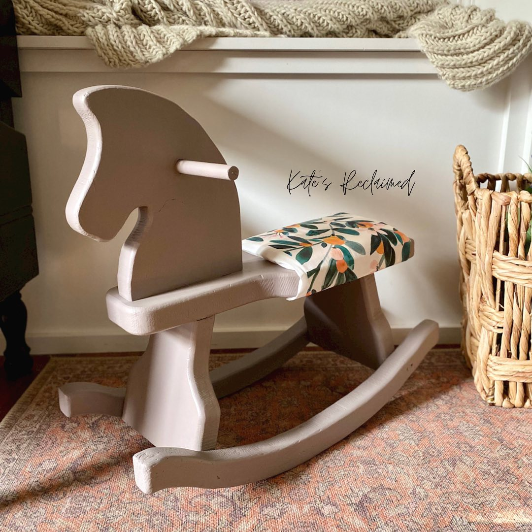 painted vintage rocking horse warm beige piece of cake upholstered seat